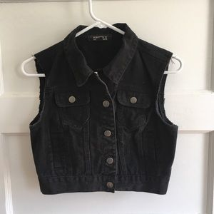 F21 Black Denim Vest